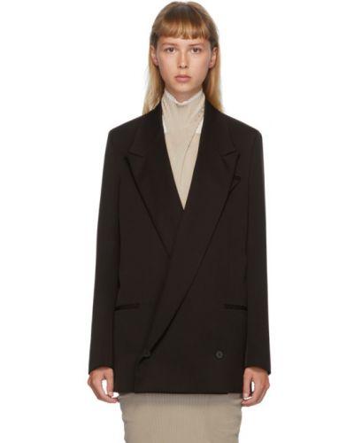 Коричневый удлиненный пиджак двубортный с подкладкой Bottega Veneta