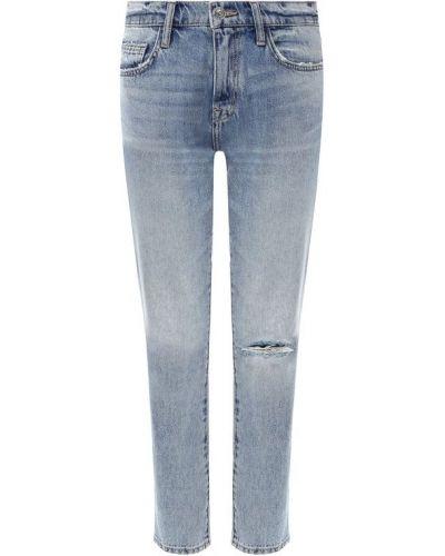 Укороченные джинсы голубой с эффектом потертости Current/elliott