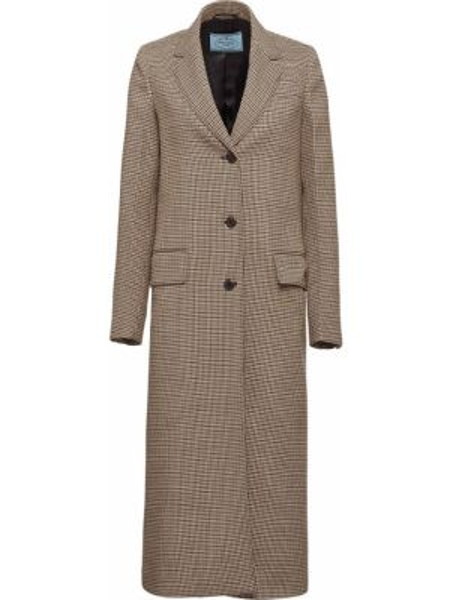 Długi płaszcz wełniany z kieszeniami Prada
