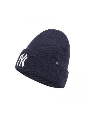 Miękki niebieski czapka baseballowa z paskami '47