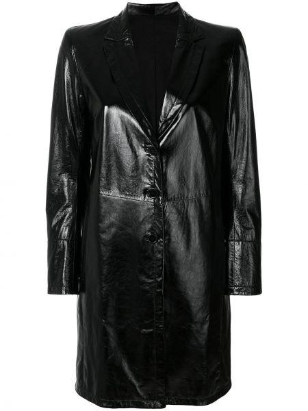 Однобортный кожаный черный плащ Sylvie Schimmel