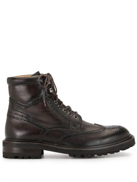 Коричневые ботинки на каблуке на шнуровке с перфорацией на каблуке Magnanni