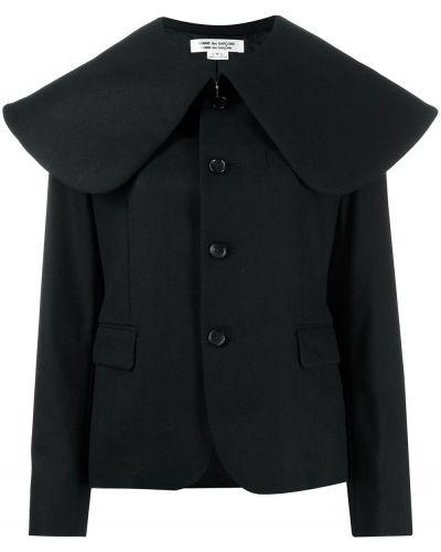 Шерстяное черное длинное пальто с воротником Comme Des Garçons Comme Des Garçons