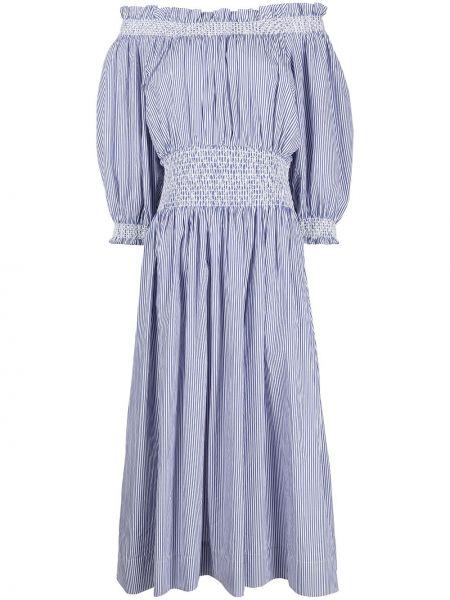 Платье миди с открытыми плечами - синее Cynthia Rowley