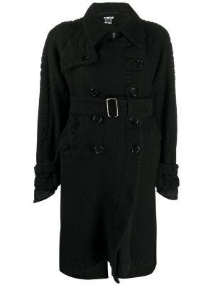 Черное шерстяное длинное пальто на пуговицах двубортное Comme Des Garçons Noir Kei Ninomiya