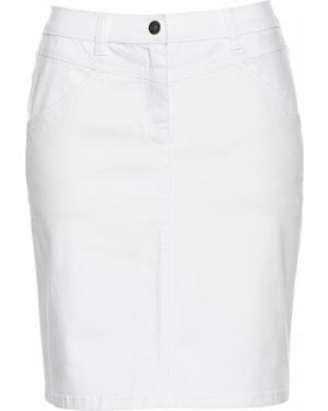Юбка мини джинсовая с кокеткой Bonprix