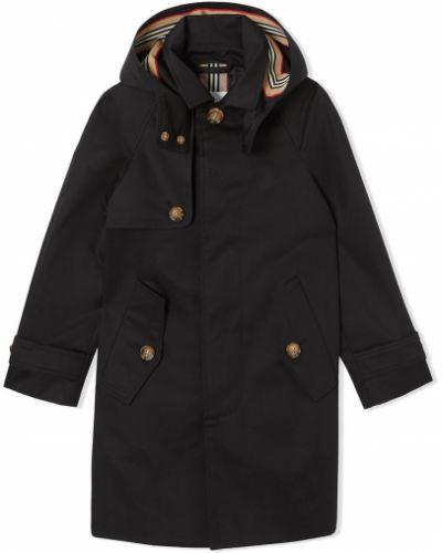 Черное длинное пальто с капюшоном для полных Burberry Kids