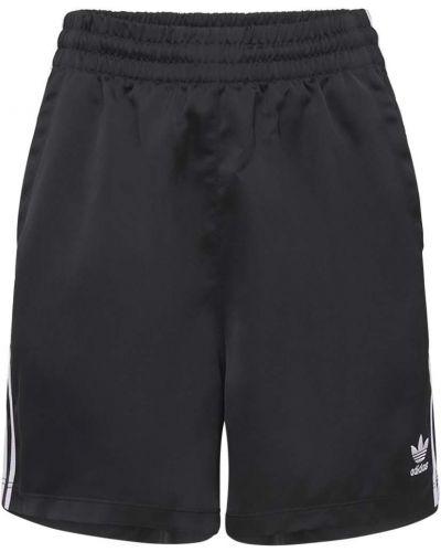 Сатиновые черные шорты на резинке Adidas Originals