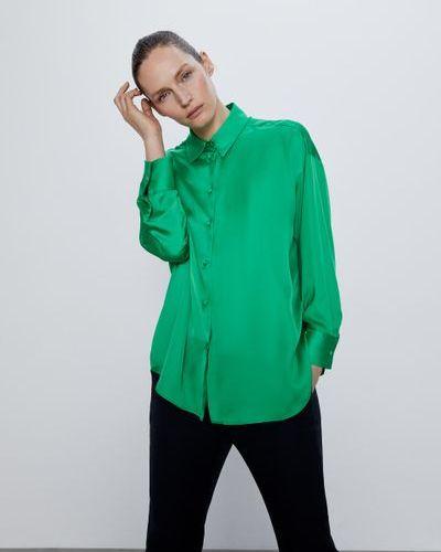 Зеленая рубашка на пуговицах Zara
