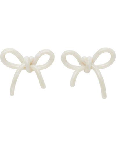 Białe kolczyki sztyfty perły srebrne Shushu/tong