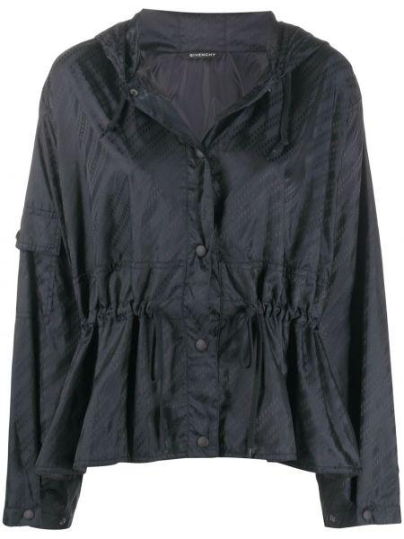 Czarna wiatrówka z kapturem z długimi rękawami Givenchy