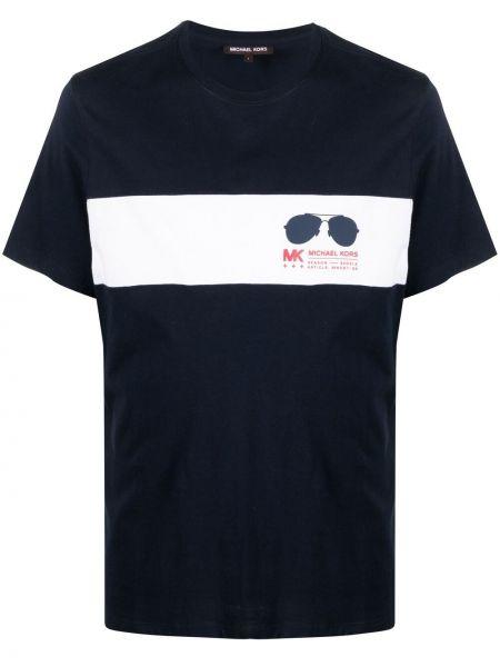 Niebieski t-shirt bawełniany krótki rękaw Michael Kors