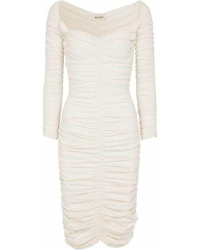 Белое платье миди с оборками из вискозы Khaite