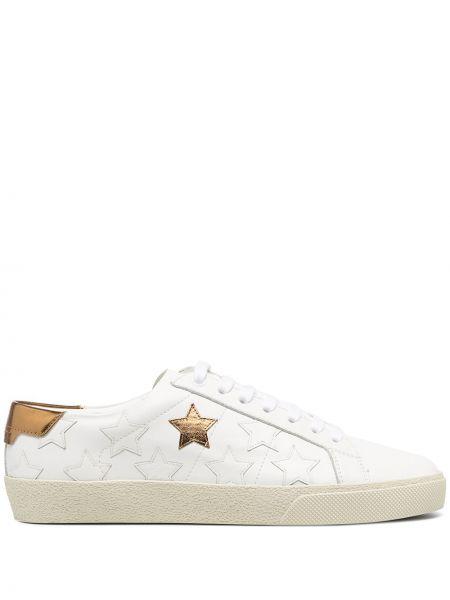 Biały włókienniczy skórzane sneakersy z łatami na sznurowadłach Saint Laurent