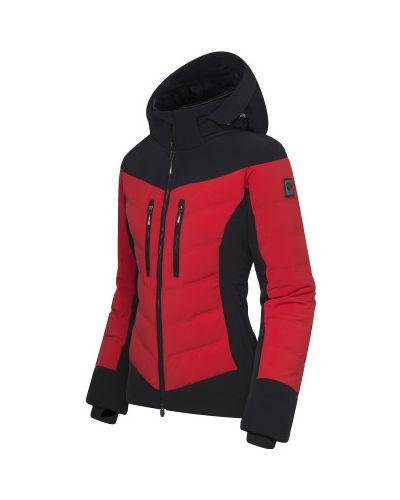 Пуховая красная куртка с капюшоном Descente