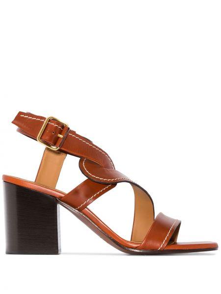 Brązowe sandały skorzane klamry Chloe