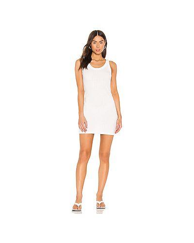 Хлопковое белое платье в рубчик Monrow