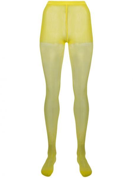 Желтые нейлоновые колготки эластичные Junya Watanabe