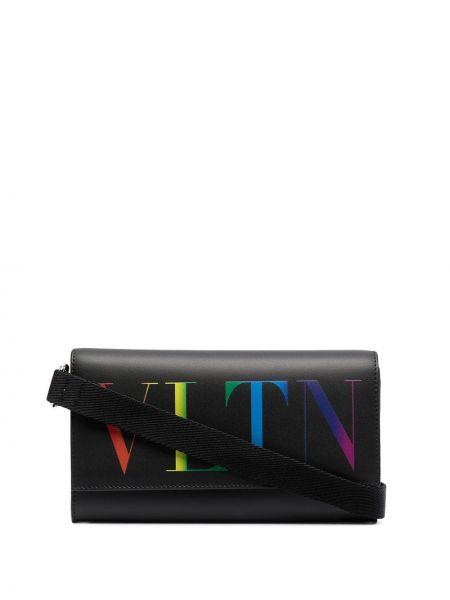 Черный кожаный кошелек на молнии Valentino Garavani