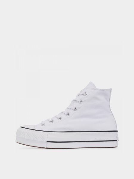 Белые высокие кеды на шнуровке на платформе Converse
