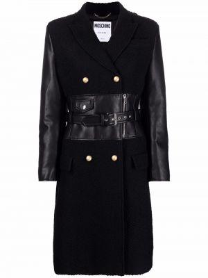 Черное шерстяное пальто Moschino