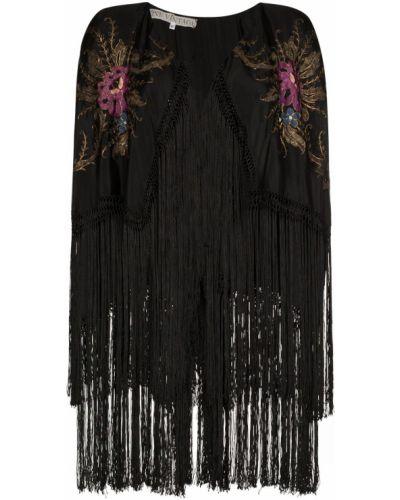 Черное кимоно с бахромой винтажное One Vintage