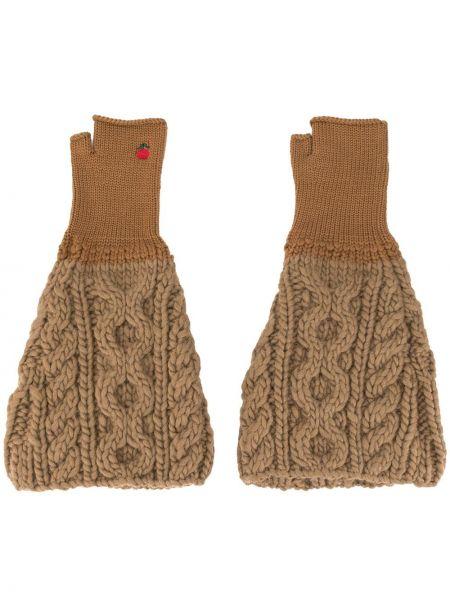 Brązowe rękawiczki bez palców wełniane z haftem Undercover
