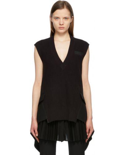 Черная шерстяная жилетка с карманами Sacai