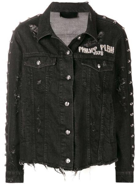 Хлопковая черная джинсовая куртка с манжетами на пуговицах Philipp Plein