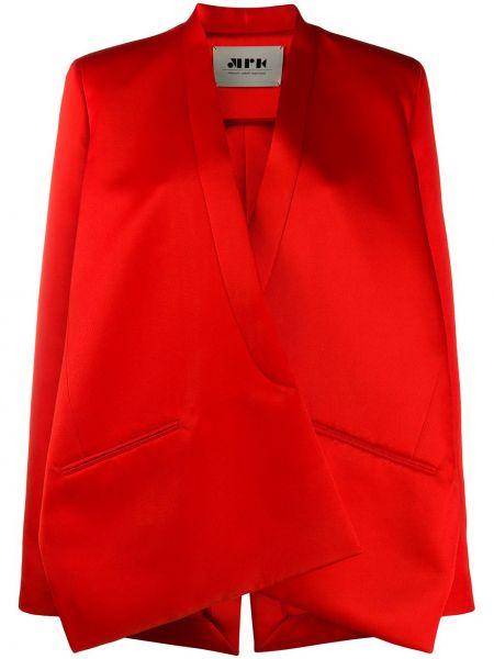 Красный удлиненный пиджак с запахом из вискозы Maison Rabih Kayrouz
