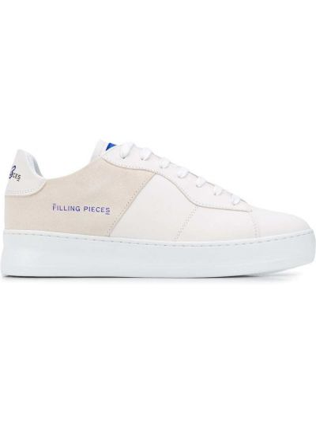 Biały ażurowy włókienniczy sneakersy z łatami Filling Pieces