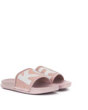 Розовые открытые шлепанцы с открытым носком на плоской подошве Michael Kors Kids