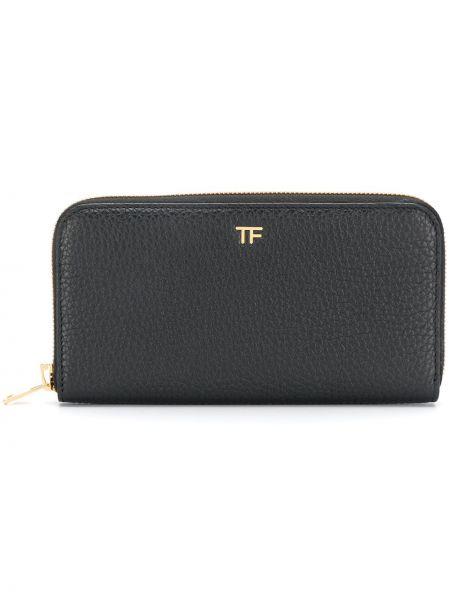 Черный кожаный кошелек с карманами Tom Ford