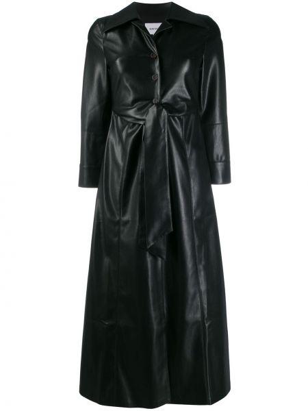 Расклешенное кожаное платье Nanushka