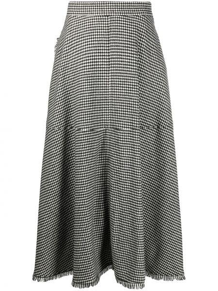 Шерстяная черная юбка с запахом Federica Tosi