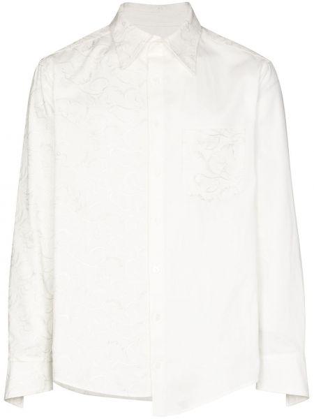 Biała koszula oxford bawełniana z haftem Sulvam