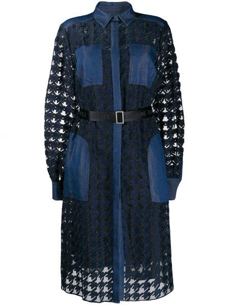 Синее классическое платье миди с воротником с карманами Karl Lagerfeld