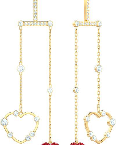 Золотые серьги металлические с кристаллами сваровски Swarovski