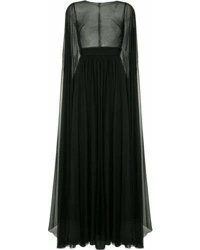 Расклешенное шелковое черное платье макси Zuhair Murad