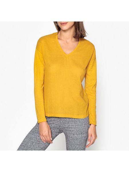 Хлопковая футбольная желтая футболка с V-образным вырезом Hartford