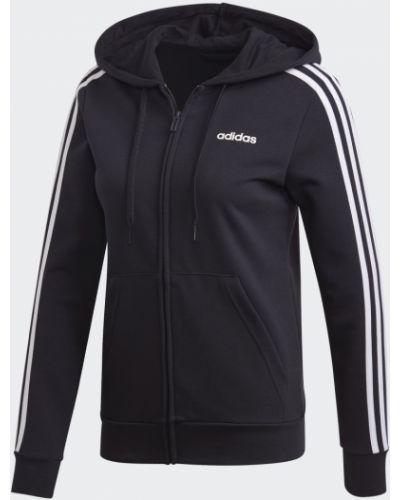 Черная кофта в полоску Adidas