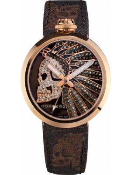 С ремешком коричневые кварцевые часы с черепами Bomberg
