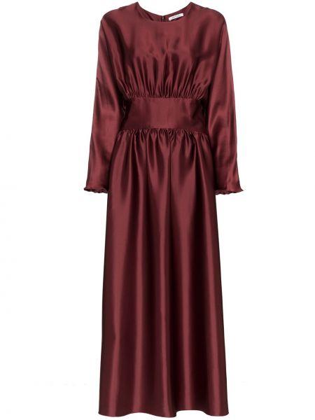 Красное шелковое приталенное платье миди на молнии Deitas