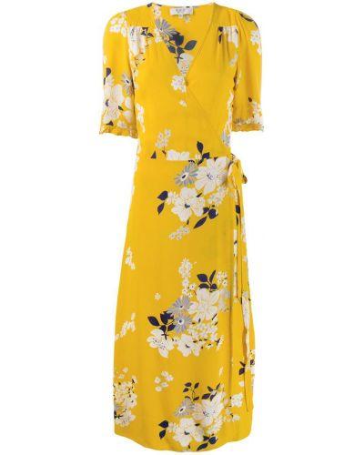 Желтое платье миди с запахом на молнии Sea New York