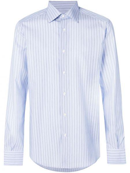 Niebieska klasyczna koszula bawełniana w paski Fashion Clinic Timeless