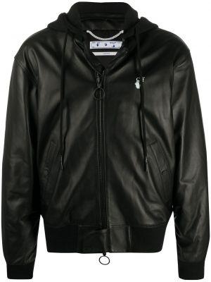 Кожаная черная куртка с капюшоном на молнии в рубчик Off-white