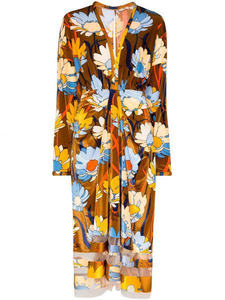 Платье миди с цветочным принтом с принтом Fendi