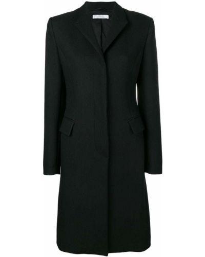 Однобортное черное длинное пальто с капюшоном Versace Collection