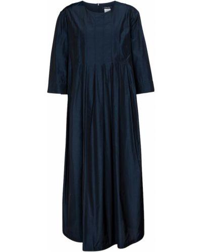 Плиссированное хлопковое синее платье миди 's Max Mara