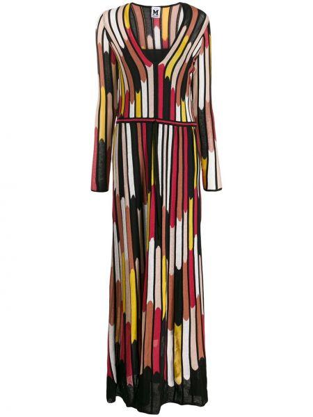 Нейлоновое черное приталенное платье с V-образным вырезом M Missoni